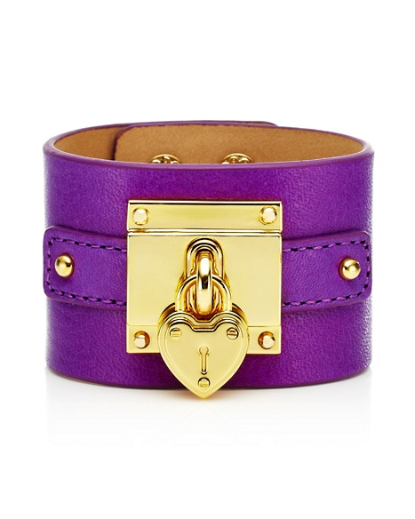 JUICY COUTURE BRACELET WIDE LEATHER PADLOCK Crushed Berry