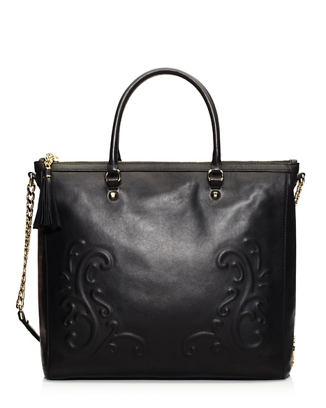 JUICY COUTURE TOTE OLVERA LEATHER ZIP TOP Black