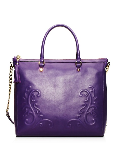 JUICY COUTURE TOTE OLVERA LEATHER ZIP TOP Plum