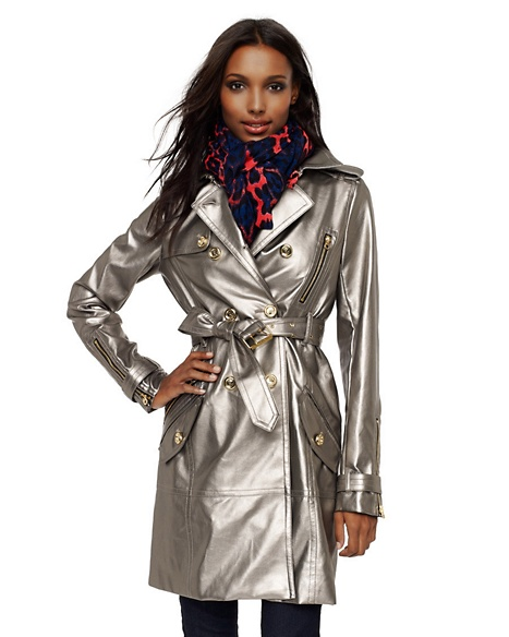 JUICY COUTURE COAT METALLIC FAUX LEATHER TRENCH Honey Bronze