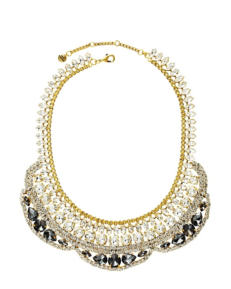JUICY COUTURE NECKLACE DRAMA RHINESTONE COLLAR Gold