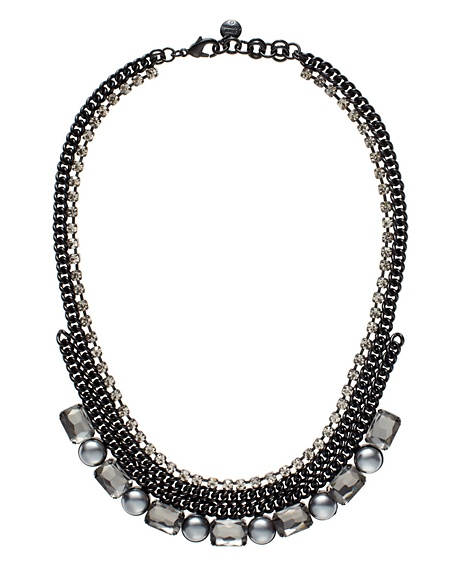 JUICY COUTURE NECKLACE RHINESTONE&PEARL Black