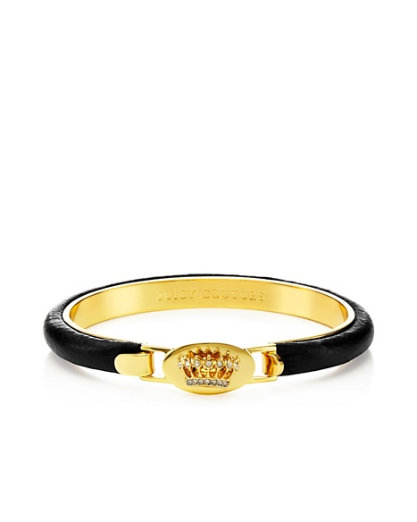 JUICY COUTURE BANGLE SIGNATURE CROWN LEATHER Black