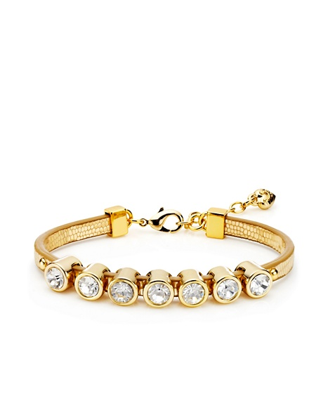 JUICY COUTURE BRACELET SKINNY LEATHER STONE Gold