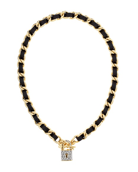 JUICY COUTURE NECKLACE PAVE PADLOCK LEATHER&CHAIN Black