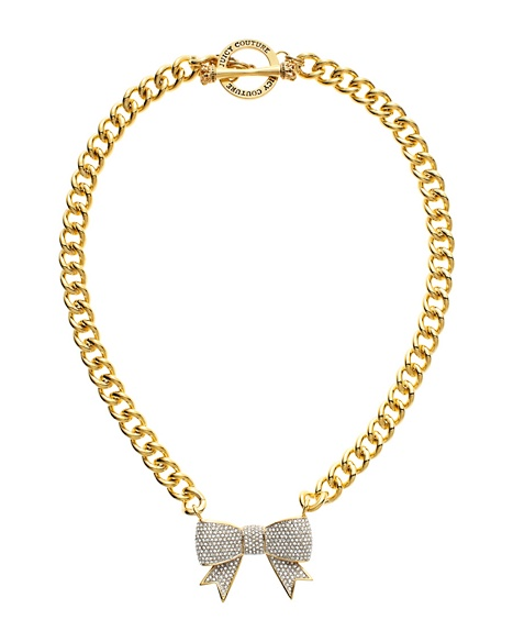 JUICY COUTURE NECKLACE PAVE BOW LINK Gold