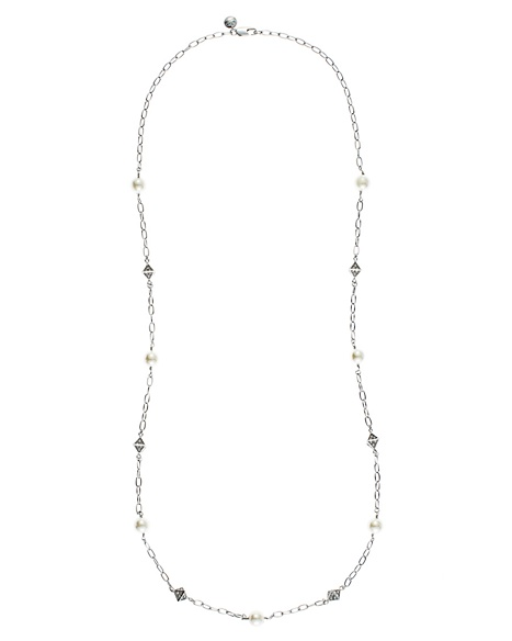 JUICY COUTURE NECKLACE PAVE PYRAMID&PEARL STRAND Silver