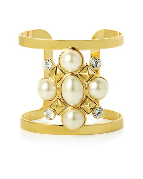 JUICY COUTURE CUFF PEARL CLUSTER OPEN White