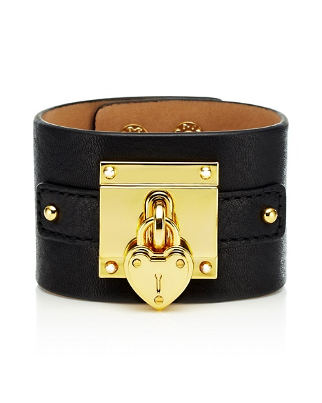 JUICY COUTURE BRACELET WIDE LEATHER PADLOCK Black