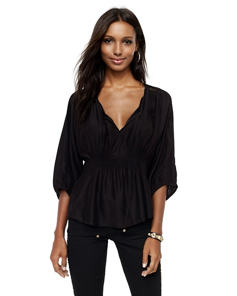JUICY COUTURE BLOUSE SILK SPLIT-NECK Pitch Black