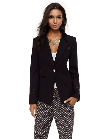JUICY COUTURE BLAZER DOUBLE CLOTH SEAMED Pitch Black