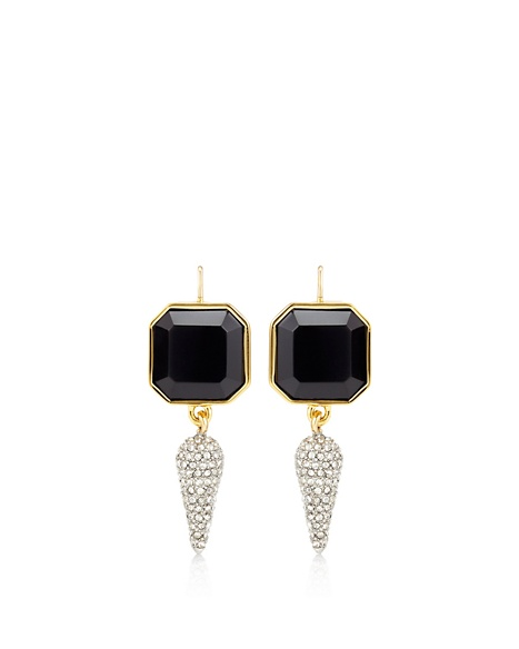 JUICY COUTURE EARRING DIAMOND SPIKE DROP Black Gold