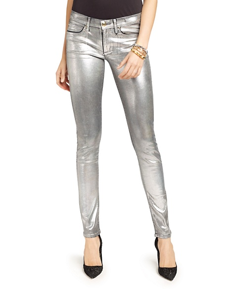JUICY COUTURE JEAN IRIDESCENT FOIL SKINNY Holog Silver