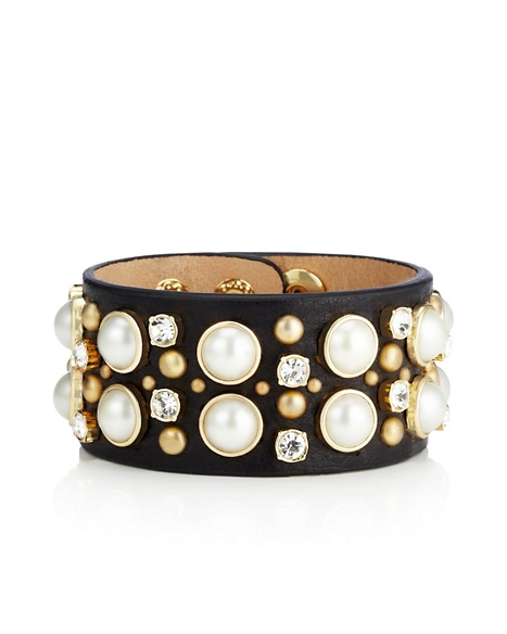 JUICY COUTURE CUFF LEATHER PEARL STUD Black