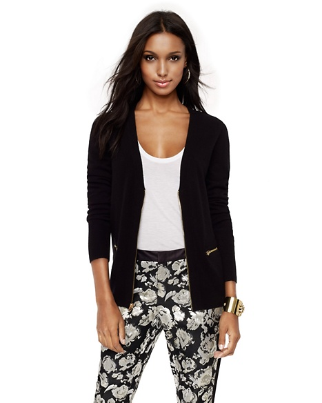 JUICY COUTURE CARDIGAN WOOL-CASHMERE ZIP Pitch Black