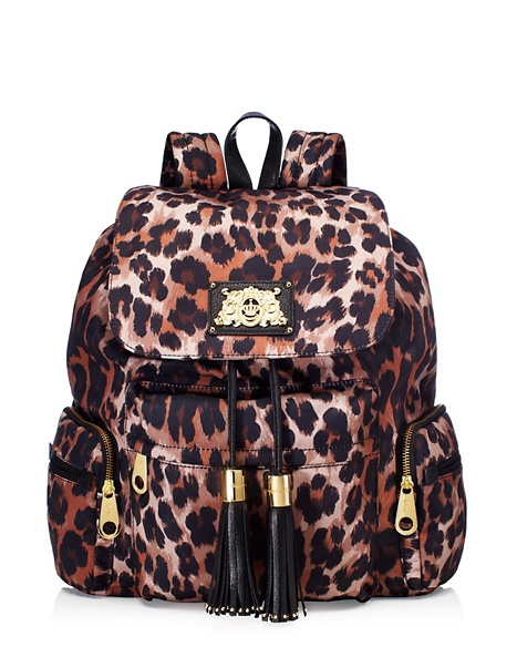 JUICY COUTURE BACKPACK MALIBU NYLON Leopard Brown