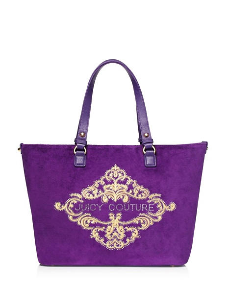 JUICY COUTURE TOTE ORNATE VELOUR Jeweled Plum