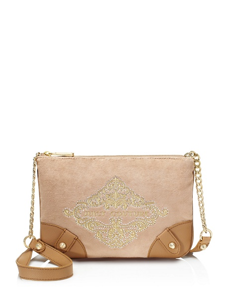 JUICY COUTURE ORNATE VELOUR CROSSBODY Rich Camel