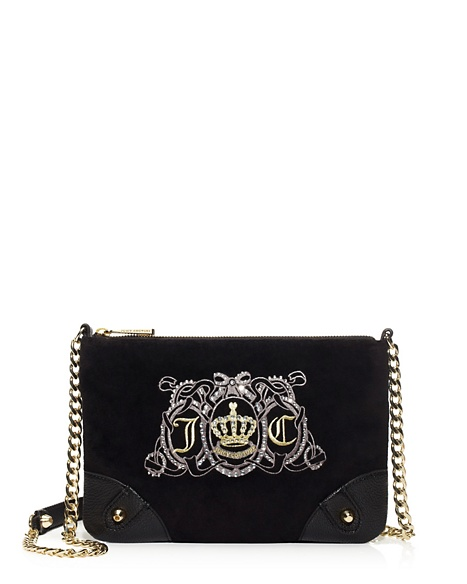 JUICY COUTURE JUICY CREST VELOUR CROSSBODY Black