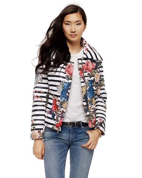 JUICY COUTURE JACKET BOUQUET STRIPE PUFFER Multi Print