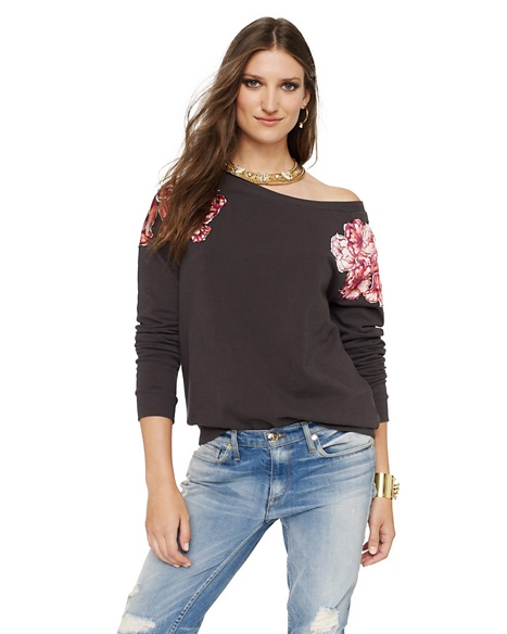 JUICY COUTURE Hat RELAXED IN FLORAL FLEECE Top