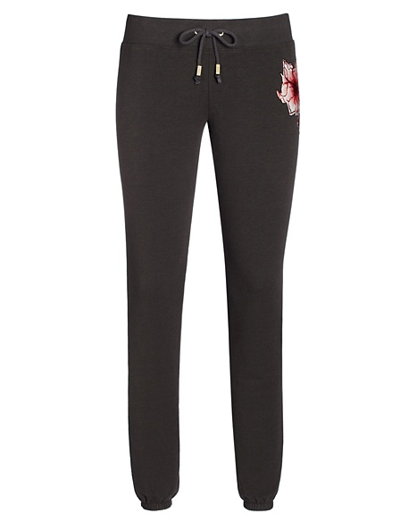 JUICY COUTURE PANT SLIM IN FLORAL FLEECE Top Hat
