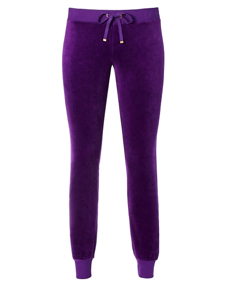 JUICY COUTURE PANT VELOUR MODERN SLIM Jeweled Plum