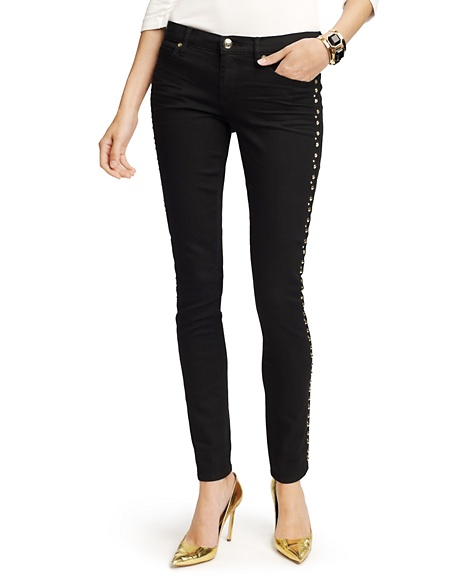 JUICY COUTURE JEAN STUDDED STRAIGHT ROLLED Black