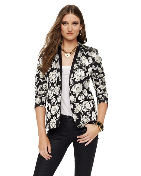 JUICY COUTURE BLAZER METALLIC FLORAL JACQUARD Pitch Black