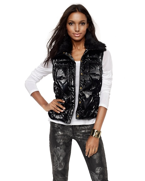 JUICY COUTURE VEST SHINE PUFFER Pitch Black
