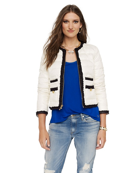 JUICY COUTURE JACKET COLLARLESS CROPPED PUFFER Angel