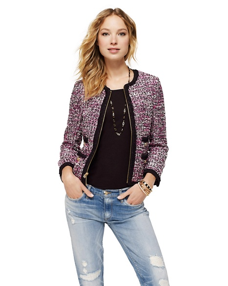 JUICY COUTURE JACKET TWEED COLLARLESS Fragrant Rose