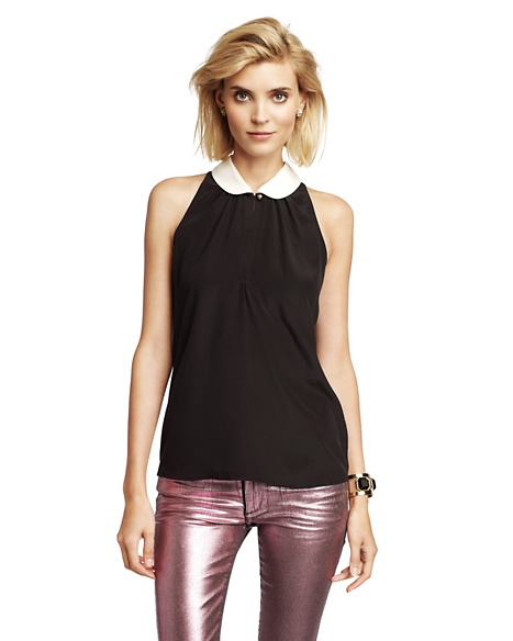 JUICY COUTURE SILK CREPE HALTER TOP Pitch Black