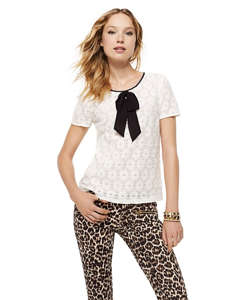 JUICY COUTURE LACE BOW NECKLINE TOP Angel