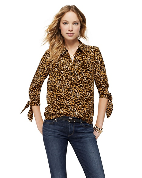 JUICY COUTURE BLOUSE SILK BOW SLEEVE PRINT Ginger Leopard