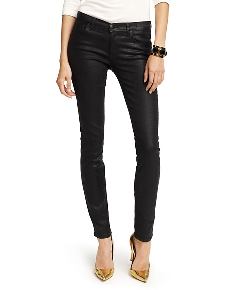 JUICY COUTURE JEAN WOMEN FOIL STRAIGHT ROLLED Crackle Black