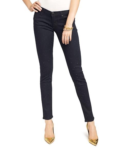 JUICY COUTURE JEAN WOMEN ALL OVER BLING SKINNY Navy