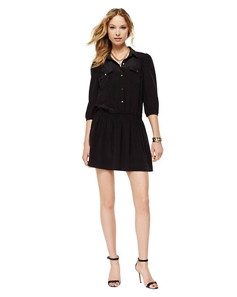 JUICY COUTURE SHIRTDRESS WOMEN SILK Pitch Black