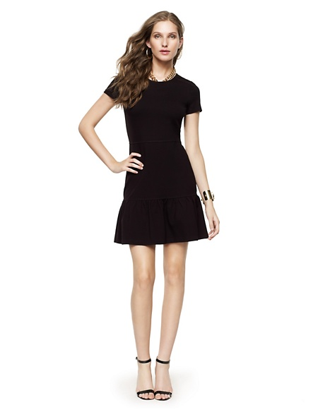 JUICY COUTURE DRESS WOMEN SOLID PONTE FLIRTY Pitch Black