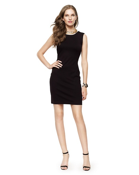 JUICY COUTURE DRESS WOMEN SOLID PONTE SLVLESS Pitch Black