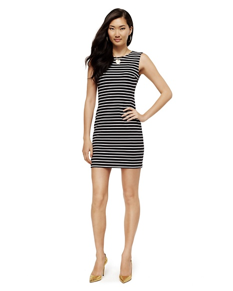 JUICY COUTURE DRESS WOMEN STRIPE PONTE Multi Black