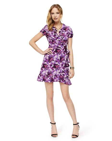 JUICY COUTURE DRESS WOMEN SILK ROSE PRINT WRAP Bright Purple