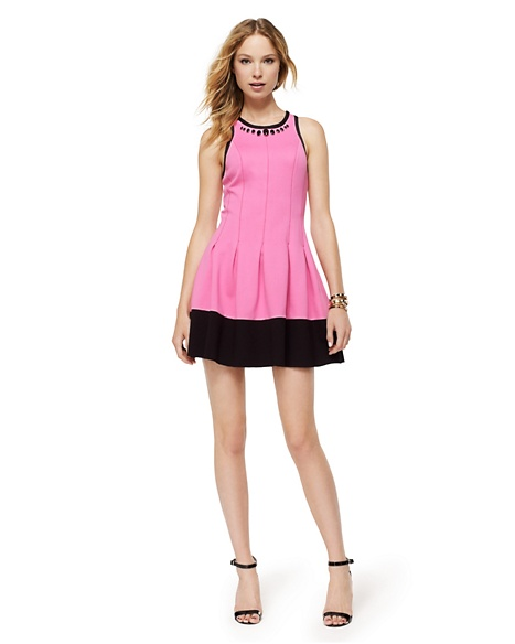 JUICY COUTURE DRESS WOMEN PONTE COLORBLOCKED Fragrant Rose