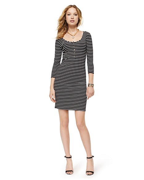 JUICY COUTURE DRESS WOMEN STRIPED HENLEY Multi Black