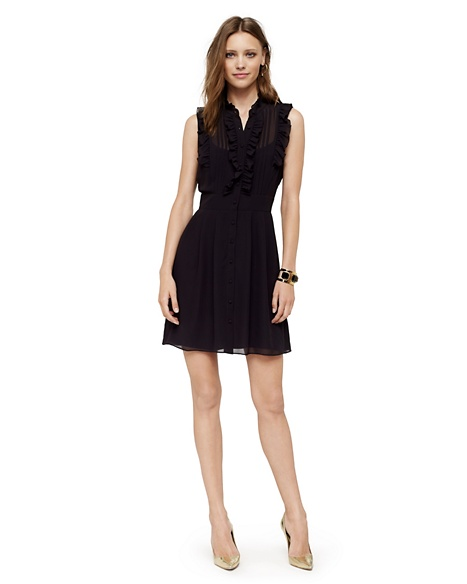 JUICY COUTURE DRESS WOMEN RUFFLE BIB Pitch Black
