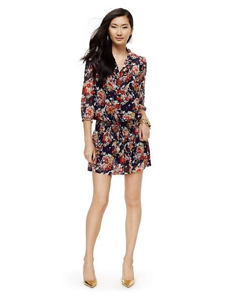 JUICY COUTURE DRESS WOMEN GEORGETTE FLORAL DROP-WAIST Regal Print