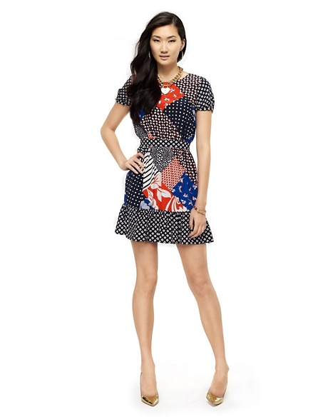 JUICY COUTURE DRESS WOMEN SILK PATCHWORK PRINT Multi