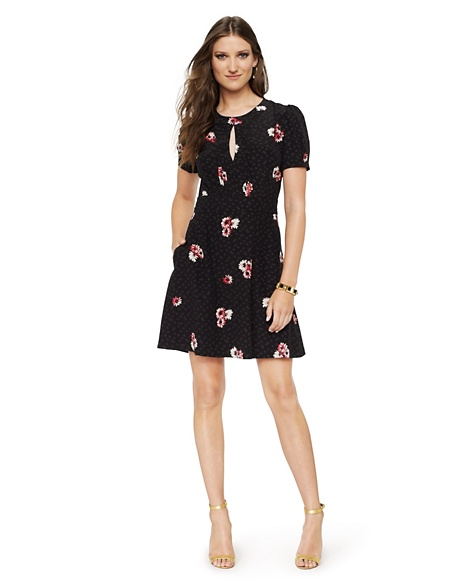JUICY COUTURE DRESS WOMEN SILK DAISY PRINT Black