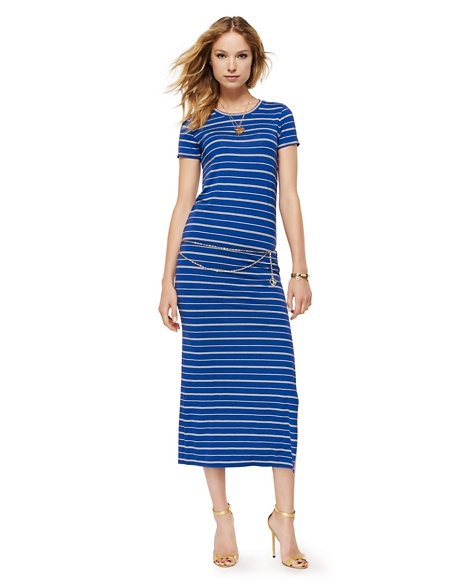 JUICY COUTURE DRESS WOMEN STRIPED SLIT MAXI Avery