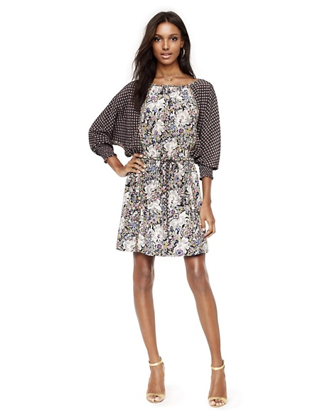 JUICY COUTURE DRESS WOMEN SILK FLORAL-PRINT Garden Print